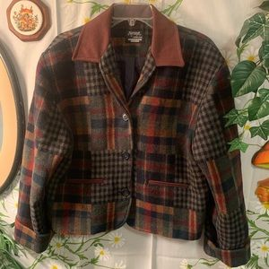 Vintage plaid patchwork style semi crop wool coat